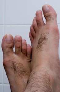 Man's hairy feet, womens feet